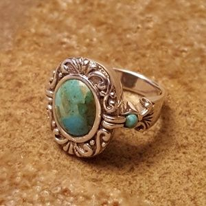 VINTAGE ESTATE Sterling Silver Turquoise Ring-6